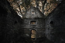 Old scary ruin in the deep forest