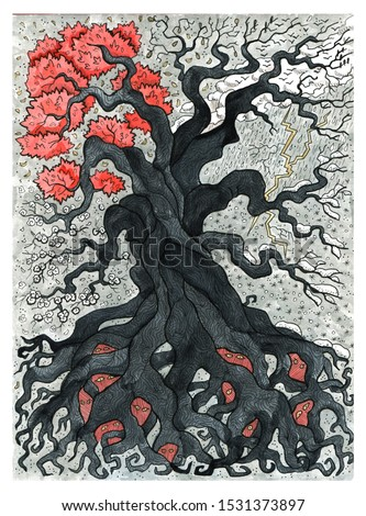 Old scary tree with roots and branches and four seasons of year. Colorful graphic engraved illustration. Fantasy and mystic drawing. Gothic, occult and esoteric background for Halloween