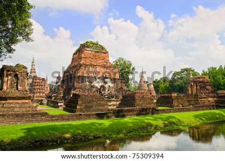Old scenic Buddhist Temple ruins in Thailand