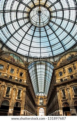Old scenic galeria in Milan, Italy