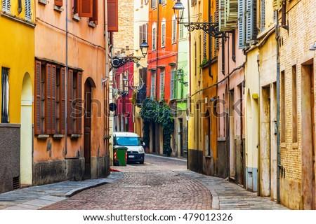 Old scenic street in Parma, Emilia-Romagna, Italy. #479012326