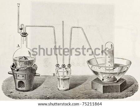 Old schematic  illustration of laboratory apparatus for oxygen production. Created by Laplante and Javandier, published on L'Eau, by G. Tissandier, Hachette, Paris, 1873