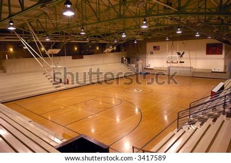 Old school basketball court gymnasium