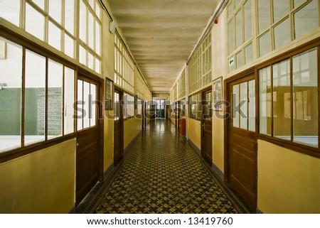 Old school corridor with perspective