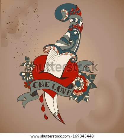 Old-school style tattoo heart with flowers and dagger, Valentine illustration for Holiday design - stock photo
