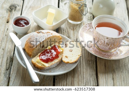 old school style tea at five afternoon service set cake sweet traditional table hotel cheesecake sugar pot china cup Stock photo ©