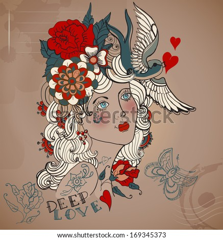 Old-school styled tattoo woman with flowers, Vintage Valentine illustration