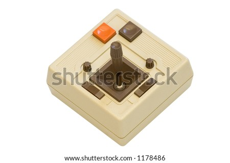 Old school video game joystick on white background complete with clipping path.