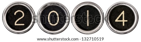 Old, scratched chrome typewriter keys with black centers and white letters spelling out 2014.  Each key is isolated on white with clipping path.