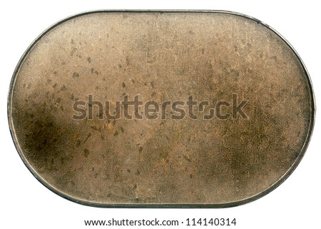 Old scratched  metal plate isolated on white - stock photo