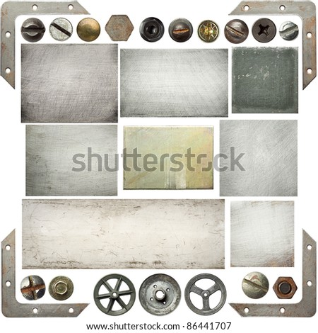 Old scratched metal textures, screw heads, pulleys.