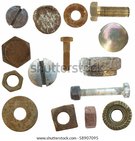 Old Screw heads, bolts, steel nuts,  isolated on white background