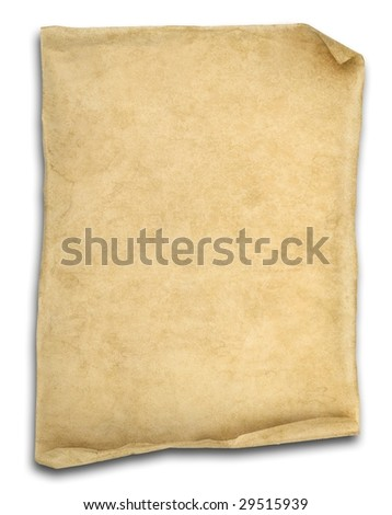 old scroll paper isolated on white with ends curled up.