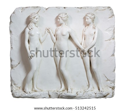 Old sculpture or statue of three nude women
