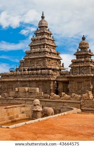Old Seashore Temple at Mahabalipuram, India.