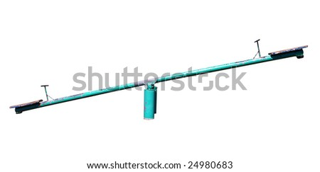 Old See Saw isolated with clipping path
