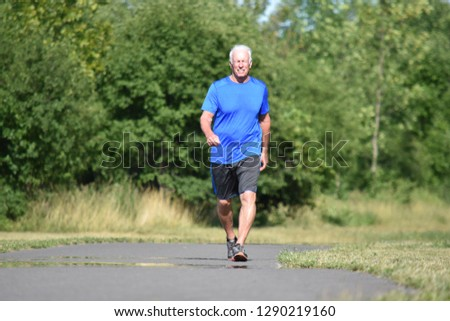 Old Senior Man And Happiness Walking