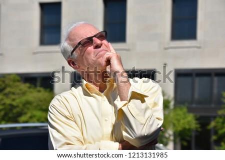 Old Senior Man Decision Making