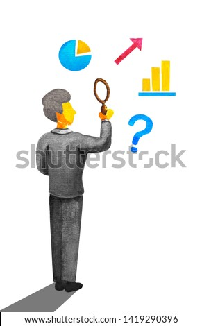Old senior man in blue business suit holds a magnifying glass. Mature office worker looks through a magnifer loupe at graphs, charts, arrow and question mark. Watercolor isolated in white backdrop.