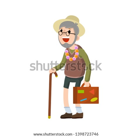 Old senior man in shorts and hat on vacation. Suitcase in hand for travel. Grandfather Traveler. Trip of a grandparent. Retirement. journey to the South. Cartoon flat illustration