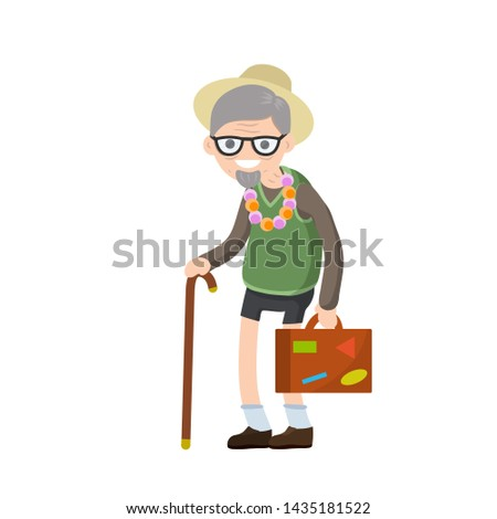 Old senior man in shorts and hat on vacation. Suitcase in hand for travel. Retirement. journey to South. Cartoon flat illustration. Trip of grandparent. Grandfather Traveler