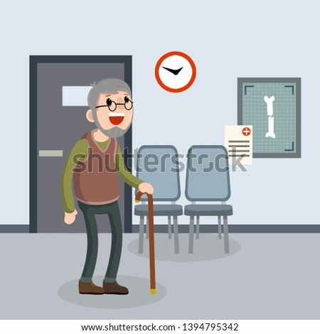 Old senior man in the doctor office in hospital. Providing medical care. Trauma patient. Happy grandparent. Crack in bone. X-rays and chairs. Cartoon flat illustration. Cute Grandfather