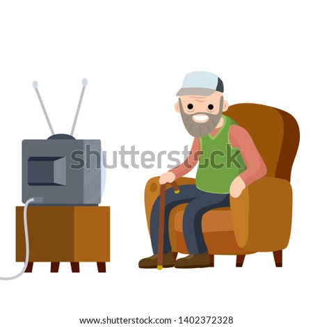Old Senior man sitting in armchair and watching retro TV. Hobbies and pastime oldster. grandfather with a beard. Lifestyle of grandpa. Cartoon flat illustration