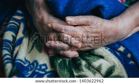 old senior woman arms and hands. wrinkled skin of aged person. aging process. #1403622962