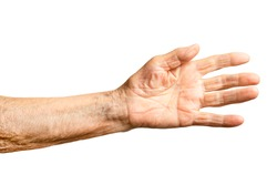 Old senior woman's hand isolated on white background