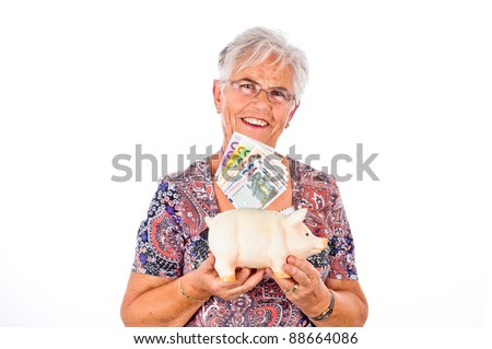 old senoir woman is happy about a lot of money