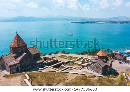 old Sevanavank monastery on the shore of lake Sevan in Armenia. in summer on a clear Sunny day. photography from the quadrocopter. the view from the top #1477536680