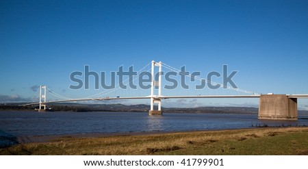 Old Severn Bridge connecting Wales and England across the Severn Estuary carrying  M48 motorway