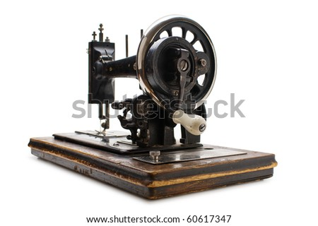 Old sewing machine  isolated on a white background