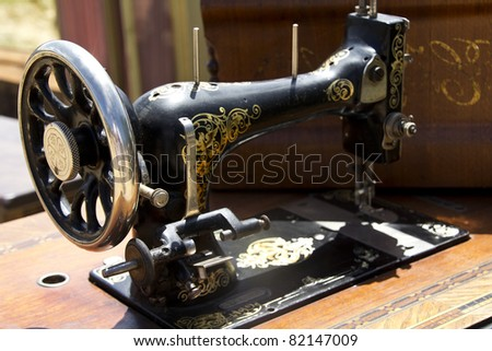 old sewing machine on a table