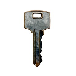old shabby silver door lock key on a white isolated background