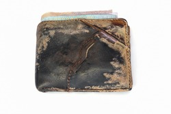 Old shabby wallet, Wallet brown isolated on white background