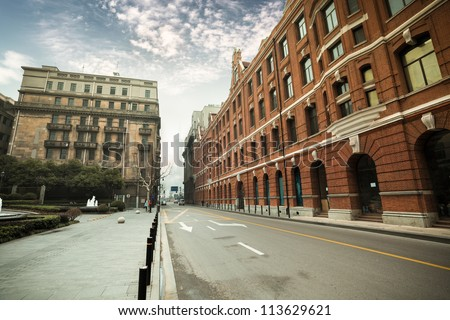 old shanghai with outstanding historic buildings #113629621