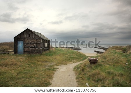 Old shed on the Northumberland coastline England