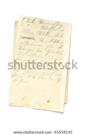 old sheet of old paper with recipe in german isolated on white