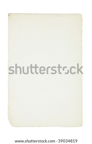Old sheet of paper isolated on white - stock photo