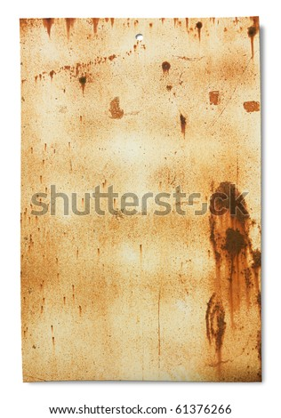 old sheet of rusty iron, dirty empty metallic banner for sign and iscription, isolated on white