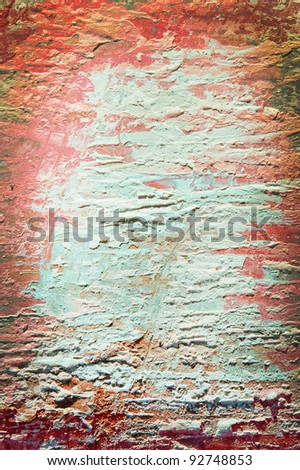 old sheet with red and light blue layers background vertical