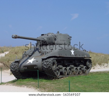 Old Sherman tank from World War II on display near Utah beach, France