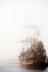 old ship in the fog 1