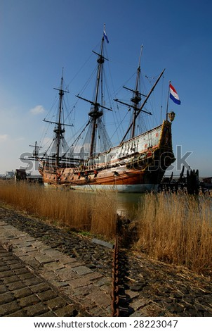 old ship in the harbor, The Netherlands
