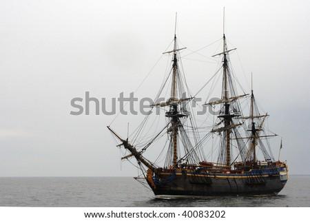 Old ship sailing Baltic sea