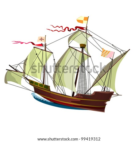 old ship, sailing ship, rasterized versions