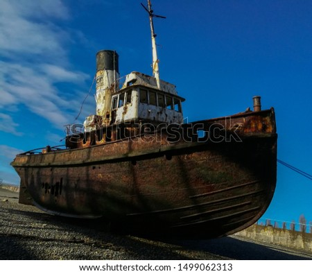 old ship stranded on the coast