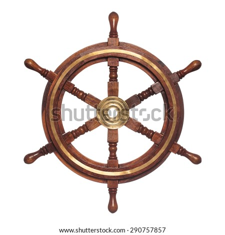 Old ship vintage, wooden steering wheel isolated on white background #290757857
