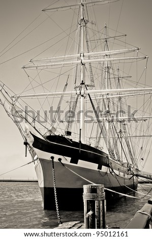 Old ship with masts, black and white
